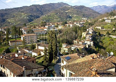 Wintry view of Barga village in Tuscany