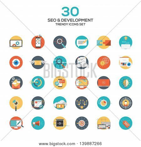 Set of modern flat design SEO and development icons.Creative concepts and design elements for mobile and web applications. Vector