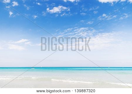 Soft wave of Caribbean sea on sandy Varadero beach. Summer peaceful background. Cuba.