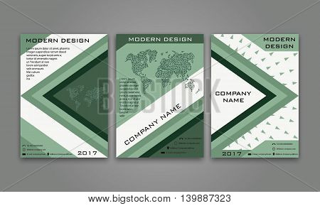 Abstract Modern Business Flyer, Brochure, Poster, Annual Report, Magazine Cover Vector Template in Green Color. Modern Material Design. Geometric Triangular Material Background. Layout in A4 Size.