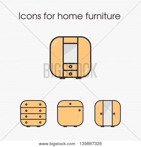 Icons for home furniture. Built-in, tube , TV and more. Can be used in web design or logo