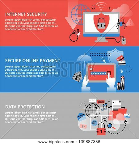 Modern flat thin line design vector illustration infographic concepts of internet security secure online and data protection for graphic and web design