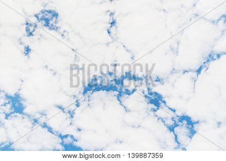Bright sunny day with clouds. Cloudscape on blue sky. Soft focus. Cuba.