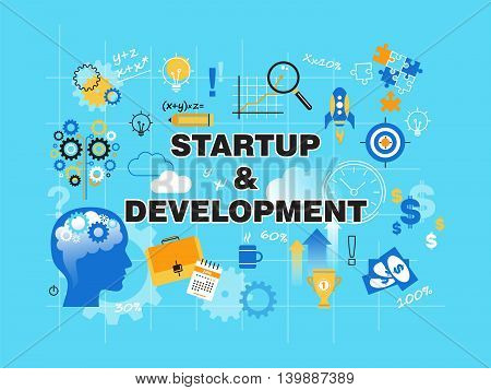 Modern flat thin line design vector illustration concept of startup project business strategy and innovation development for graphic and web design