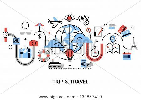 Modern flat thin line design vector illustration concept of travelling around the world journey and trip to other countries for graphic and web design