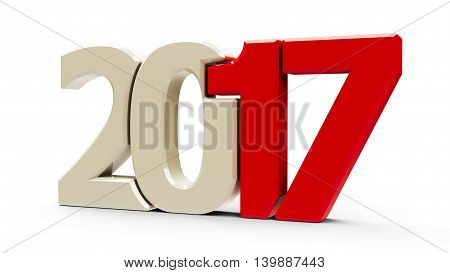 Red 2017 symbol icons or button isolated on white background represents the new year 2017 three-dimensional rendering 3D illustration