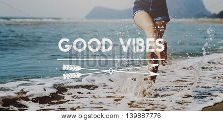 High Tides Good Vibes Summer Holiday Vacation Concept