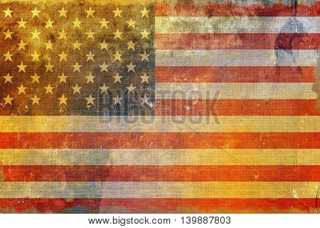 Grungy American Flag Background. United States Flag Grungy Style Backdrop.