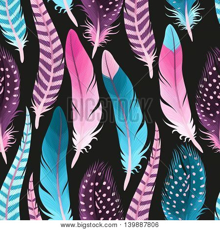 Decorative pink and blue feathers vector seamless background