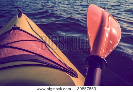 Kayak Summer Trip. Recreational Kayaking. Summer Fun