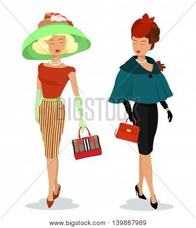 Beautiful young ladies in fashion clothes. Detailed graphic women characters with accessories. Colorful stylish girls with bags and hats. Flat style vector illustration isolated.
