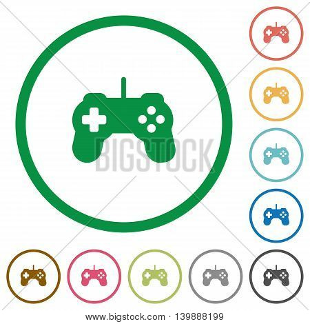 Set of Game controller color round outlined flat icons on white background