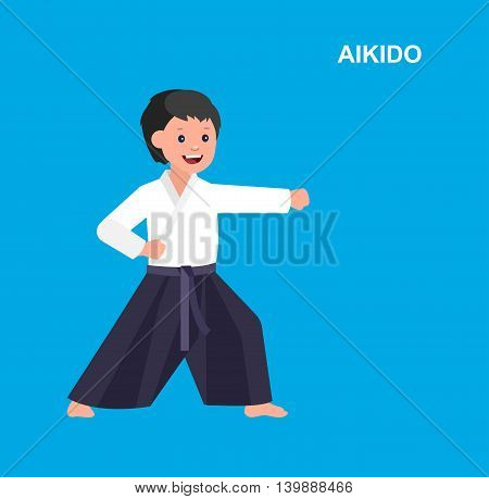 Cute vector character child. Illustration for martial art. Kid wearing kimono and training aikido
