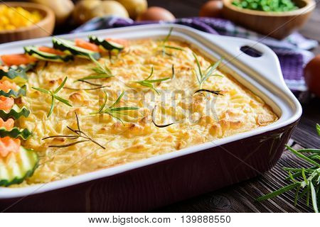 Shepard's Pie With Minced Meat, Mashed Potatoes And Vegetable