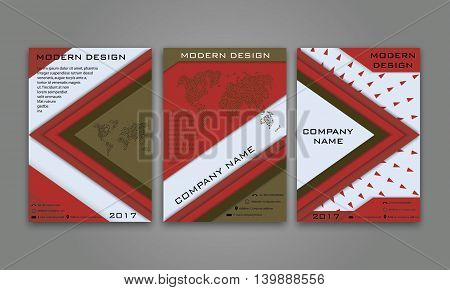 Abstract Modern Business Flyer, Brochure, Poster, Annual Report, Magazine Cover Vector Template in Red and Brown Color. Modern Material Design. Geometric Triangular Material Background. Layout A4 Size