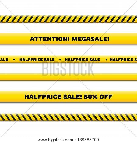 Police line for megasale, realistic vector set isolated on white. Seamless caution tapes