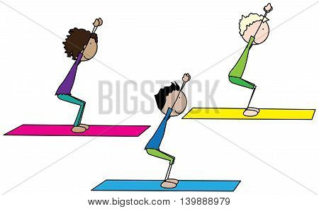Cartoon illustration of three kids exercising yoga