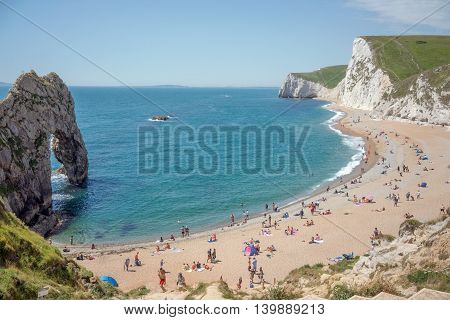 Durdle Door beach on the UK's Jurassic coast, Dorset
