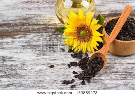 Sunflowers, Bottle With Oil And Sunflower Seeds