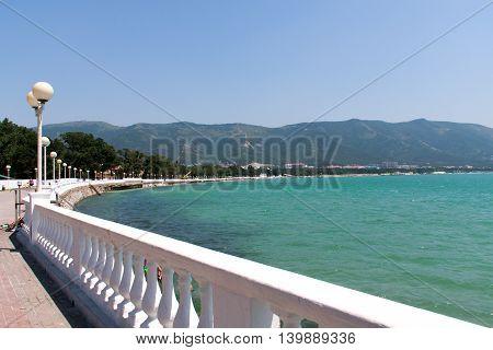 Black Sea promenade with lanterns in the Crimea.