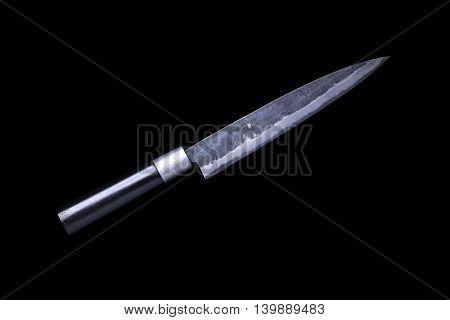Japanese kitchen knife yanagi sashimi knife isolated on black background