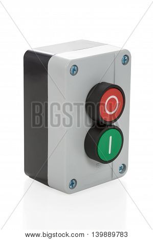 Box switch with red and green button isolated on white background