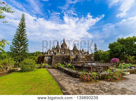 Buddhist temple of Banjar in island Bali Indonesia - travel and architecture background
