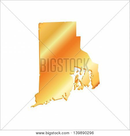 3D Rhode Island (USA) Gold outline map with shadow