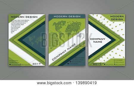 Abstract Modern Business Flyer, Brochure, Poster, Annual Report, Magazine Cover Vector Template in Blue, Green Color. Modern Material Design. Geometric Triangular Material Background. Layout A4 Size.