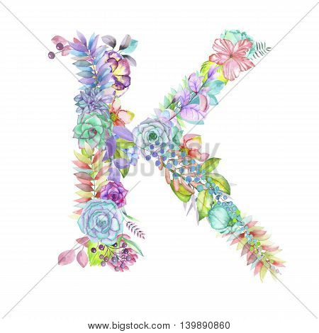 Capital letter K of watercolor flowers, isolated hand drawn on a white background, wedding design, english alphabet for the festive and wedding decor and cards