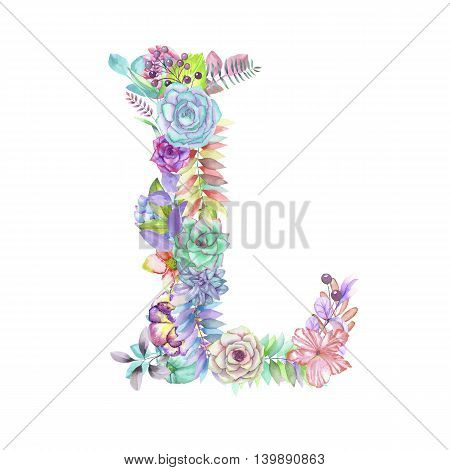 Capital letter L of watercolor flowers, isolated hand drawn on a white background, wedding design, english alphabet for the festive and wedding decor and cards