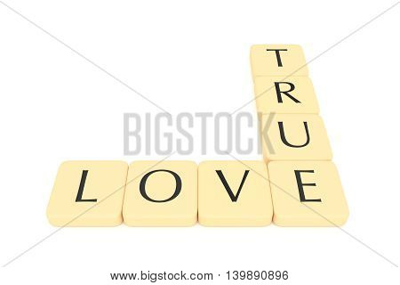 Letter tiles: true love 3d illustration on a white background