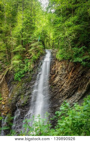 view of the waterfall Guk in the Carpathian mountains