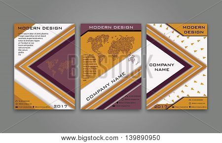 Abstract Modern Business Flyer, Brochure, Poster, Annual Report, Magazine Cover Vector Template in Purple, Orange Color. Modern Material Design.Geometric Triangular Material Background. Layout A4 Size