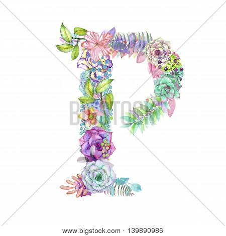 Capital letter P of watercolor flowers, isolated hand drawn on a white background, wedding design, english alphabet for the festive and wedding decor and cards