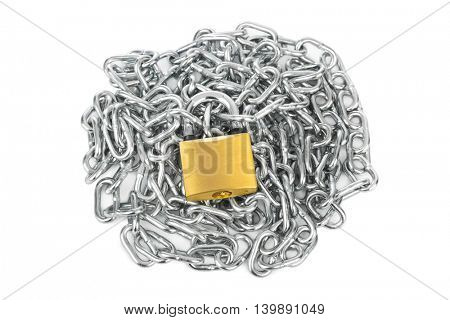 Chain and lock isolated on white background