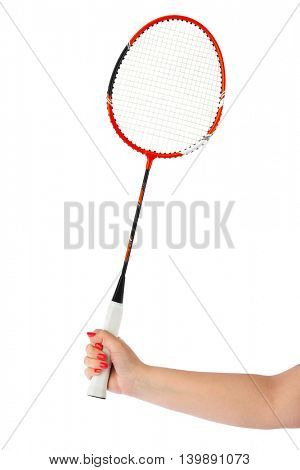 Hand with badminton racket isolated on white background