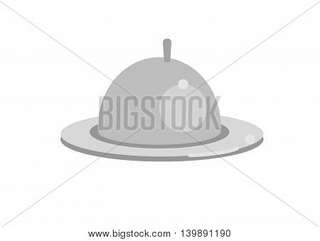 Restaurant cloche, dish with lid isolated on white background