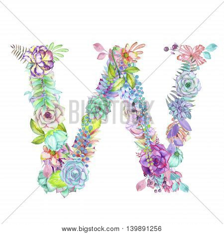 Capital letter W of watercolor flowers, isolated hand drawn on a white background, wedding design, english alphabet for the festive and wedding decor and cards