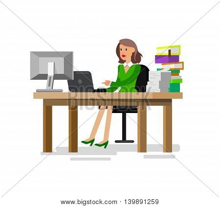 Vector detailed character corporate business women sitting behind desk. Office worker