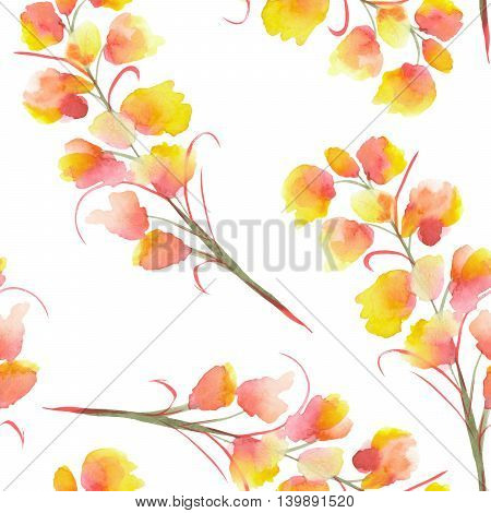 Seamless pattern with the isolated watercolor orange, yellow and red Delphinium (Larkspur) flower, hand drawn on a white background