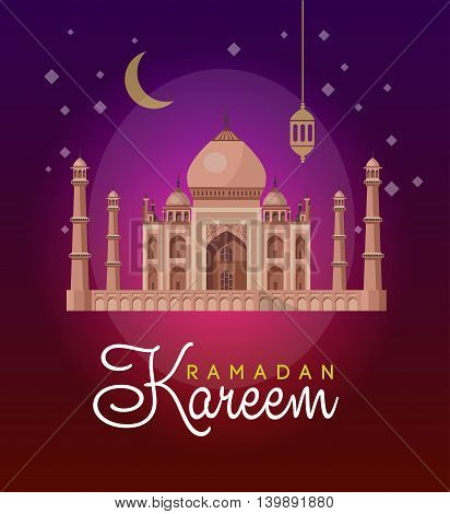Vector holiday illustration of shiny Ramadan Kareem. lettering composition of muslim holy month with mosque building and sparkles.