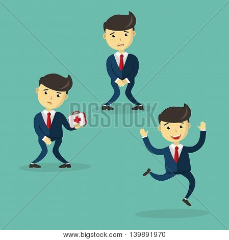 Incontinence concept. Man wants to pee and is holding his bladder. Prostate problem. Guy with bladder control problem. Men's health, medicine, cure, treatment. Flat cartoon vector illustration