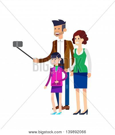 Selfie shot man make Selfie with his wife and children. Vector selfie people set, life with selfie photo camera