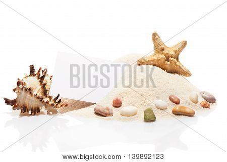 Visit Card, Starfish, Seashell, Stones On Pile Of Beach Sand