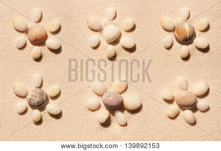 Six Flowers Made Of Sea Stones On Sand