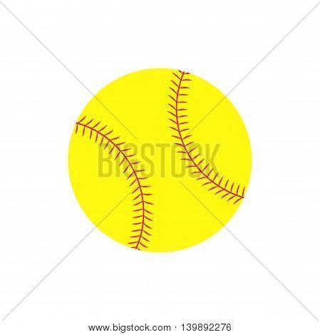 Flat icon softball ball. Sport item. Vector illustration.