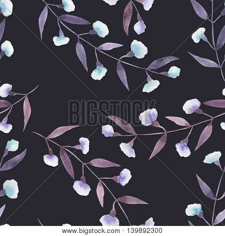 Seamless floral pattern with the abstract watercolor purple and blue branches with flowers, hand drawn on a dark background