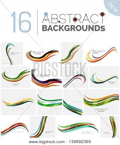 Set of smooth abstract backgrounds - wave motion concepts. Infinity space templates with sample text. Business card and identity design elements