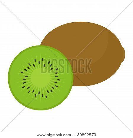 Flat icon kiwi and slice of kiwi. Vector illustration.
